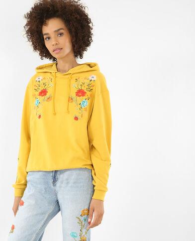 Geborduurde sweater met kap geel