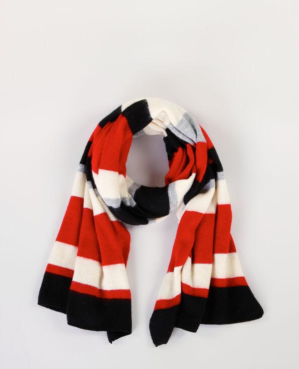 Large écharpe rayée rouge
