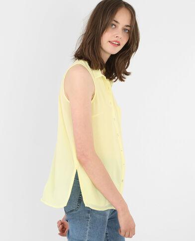 Blusa vaporosa sin mangas amarillo
