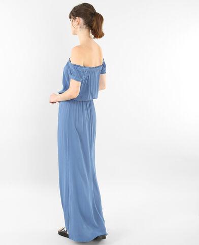 Vestido largo con cuello bardot azul