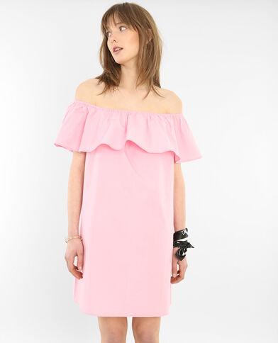 Vestido de popelina escote bardot rosa
