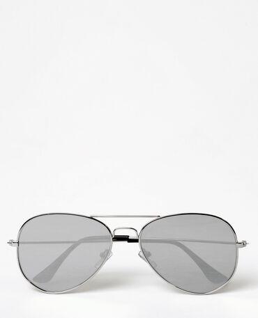 Piloten-Sonnenbrille Silberig