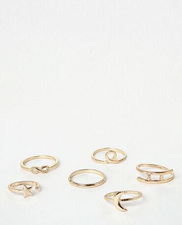 Lote de anillos dorados dorado