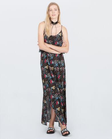 Lange jurk met gekruiste rug zwart