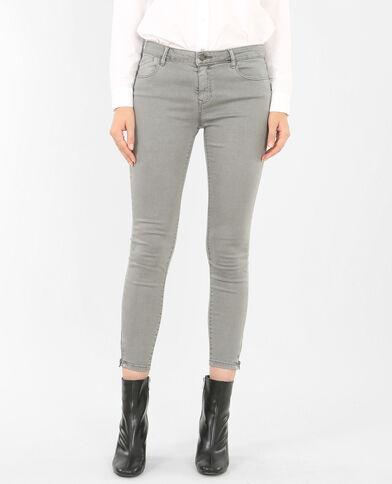 Skinny zippé gris anthracite