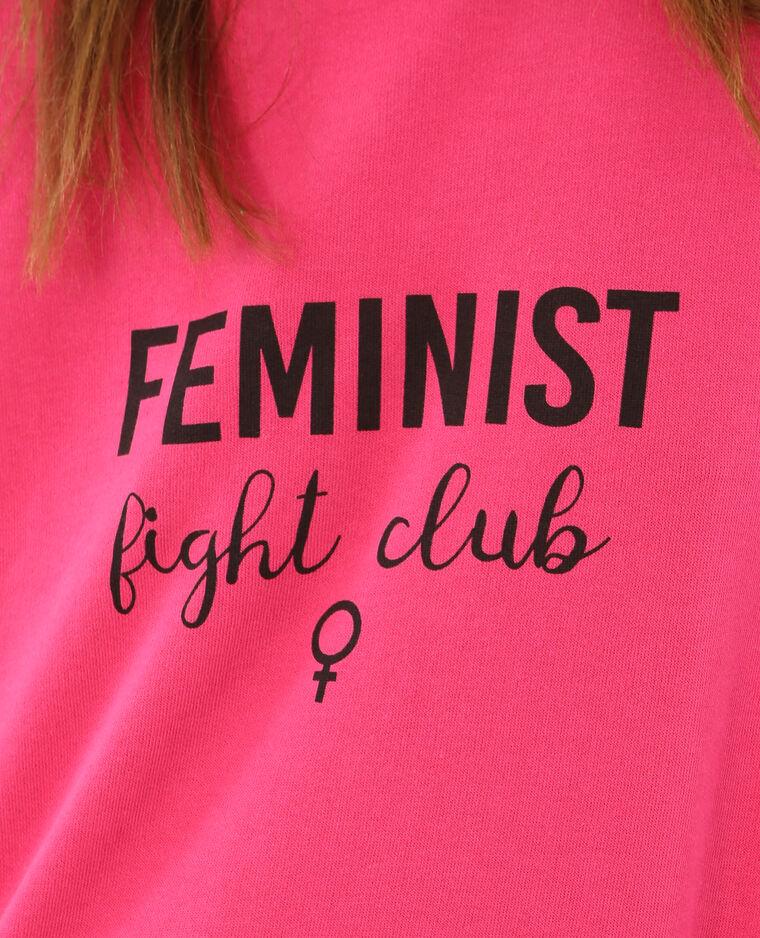 "Sweat à message ""Feminist"" rose fushia"