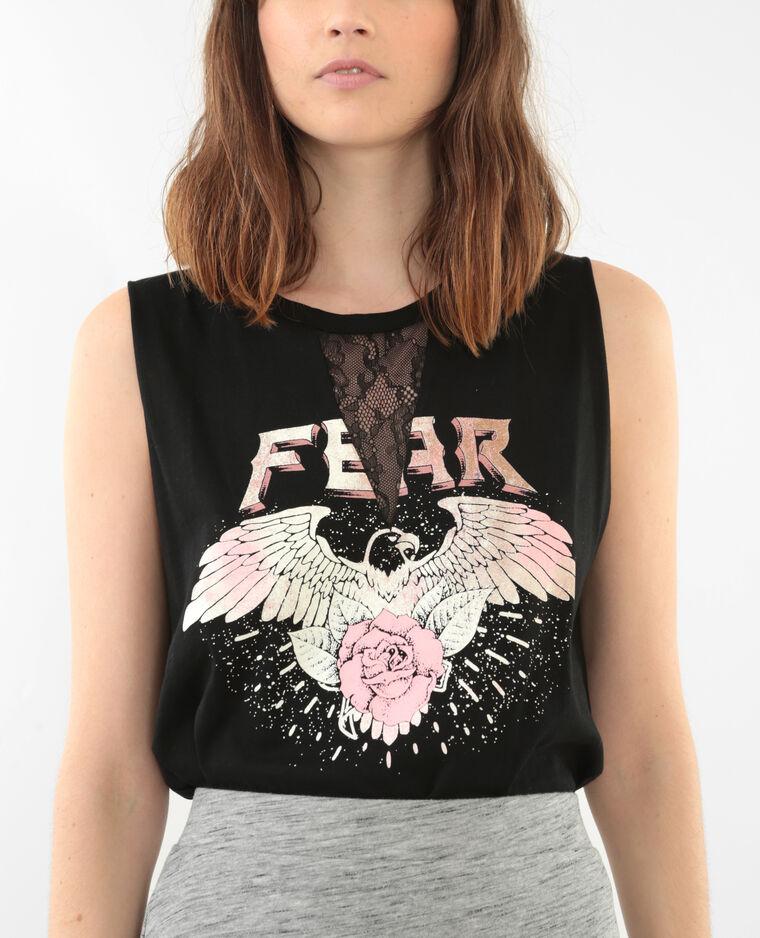 T shirt rock avec dentelle noir 403673899n43 pimkie - T shirt avec photo ...