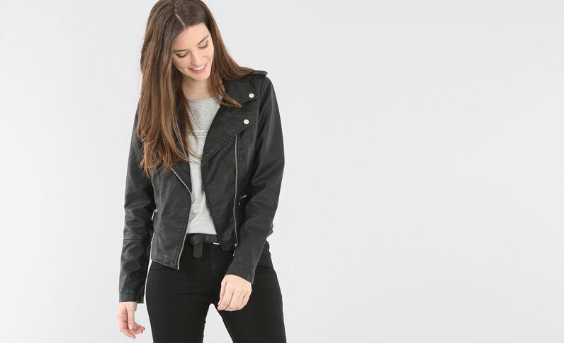 Jacke aus Kunstleder Schwarz