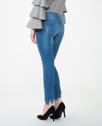 Skinny Jeans mit Perlen Blau