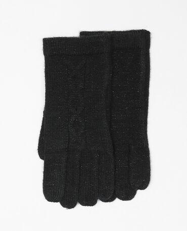 Handschuhe mit Zopfmuster Schwarz