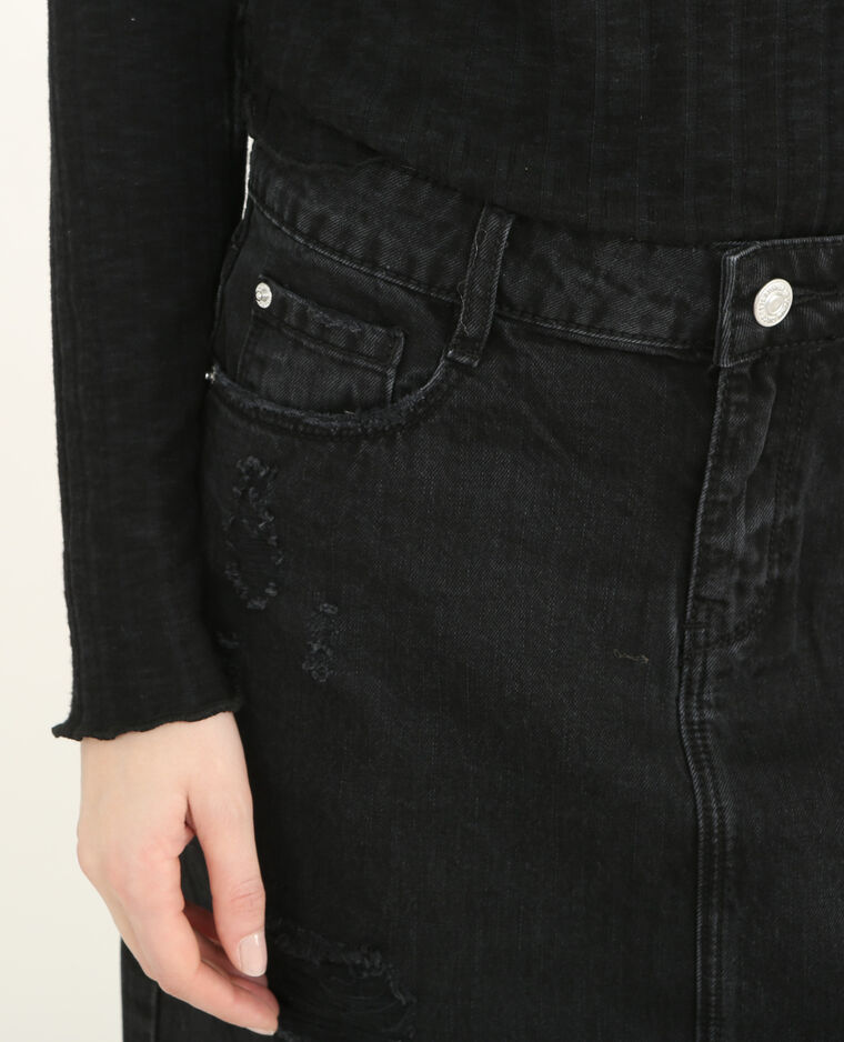 Jupe denim destroy noir