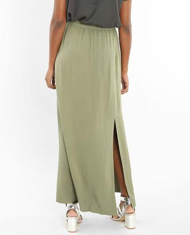 Soepelvallende rok met split groen
