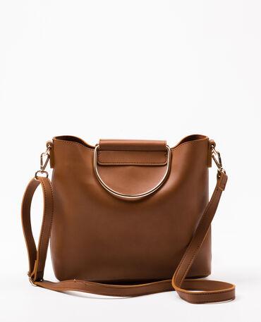Tasche mit Griffen aus Metall Orangebraun