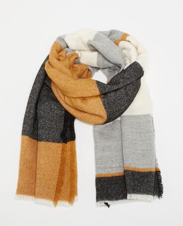 Bufanda cálida con bandas multicolor beige