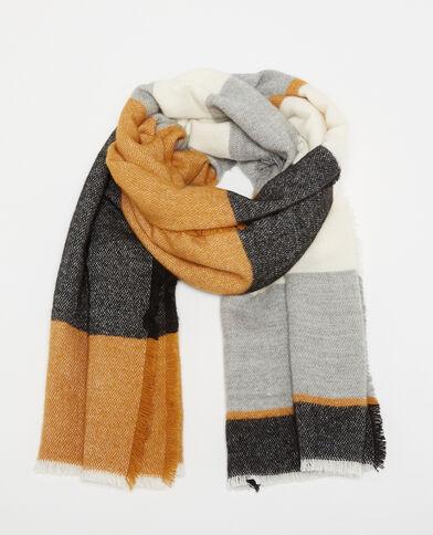 Echarpe chaude à bandes multicolores beige