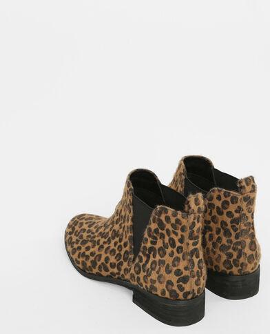 Chelsea-Boots mit Leoparden-Motiv Kastanienbraun