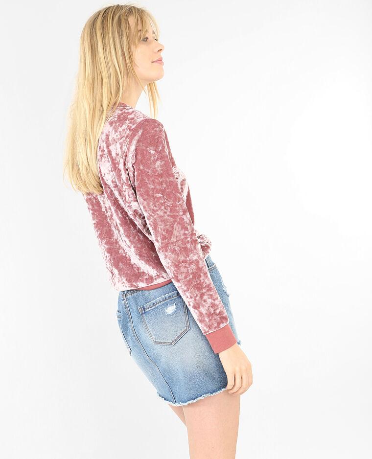 Sudadera de terciopelo rosa palo