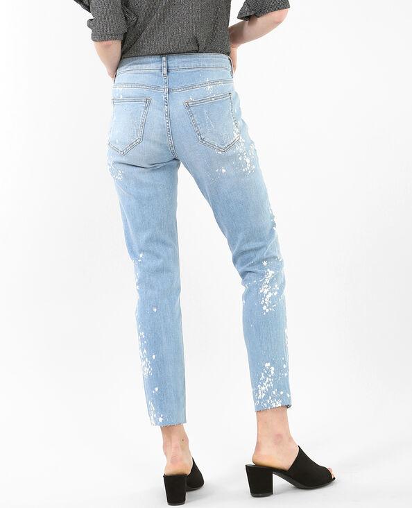 Jean skinny tacheté de peinture bleu