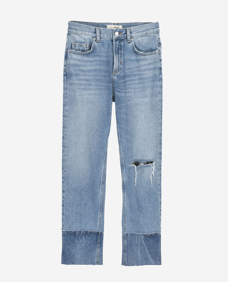 Jean 7/8 2 tons bleu denim