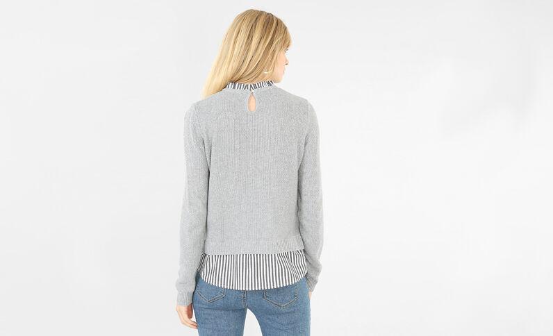 Pullover im Schichten-Look Grau meliert