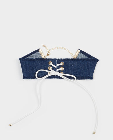 Choker in denim con laccio blu