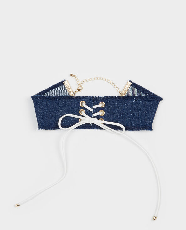Choker aus Denim mit Schnürband Blau