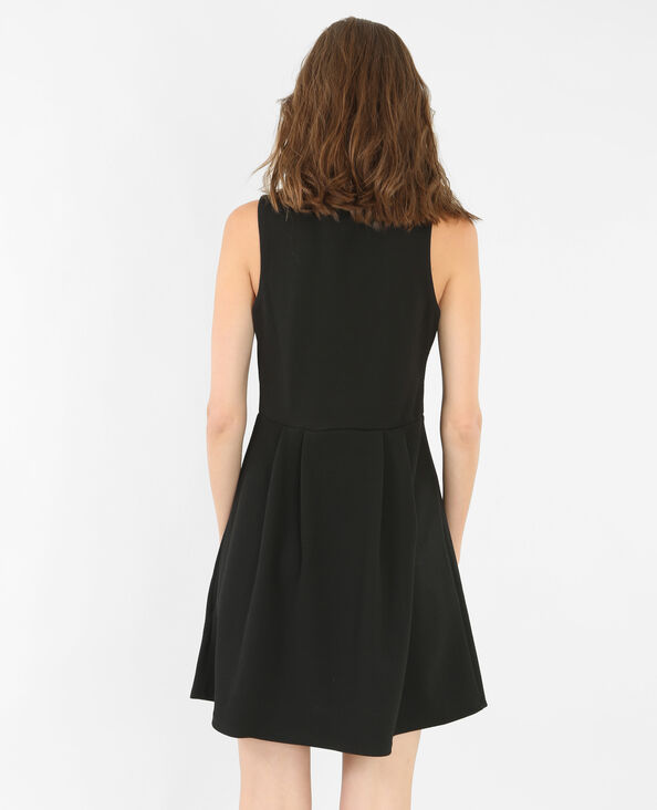 Skater-Kleid mit Schmuck-Kragen Schwarz