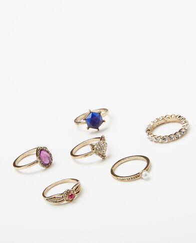 6er-Set modische Ringe Gold
