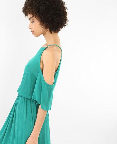 Robe longue manches peekaboo vert sapin