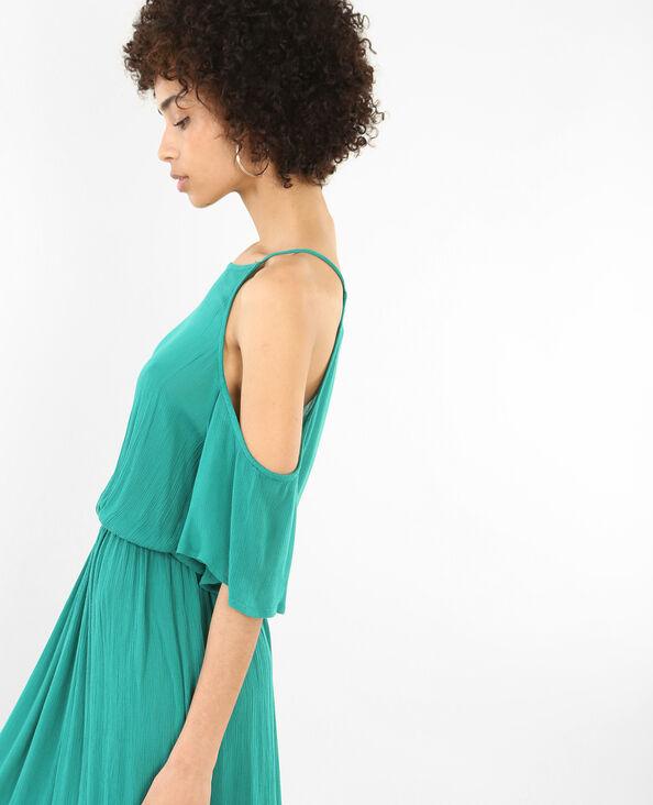 Lange jurk met peekaboomouwen dennengroen