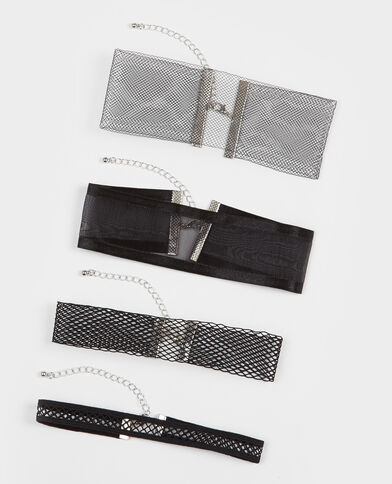 Lot de 4 chokers noir