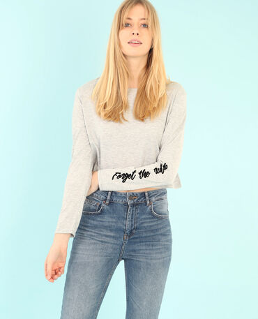Cropped-T-Shirt Grau