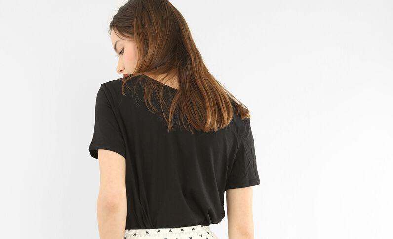 T-shirt col raw cut noir