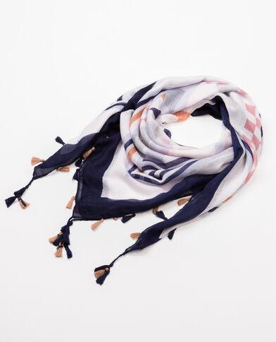Foulard imprimé à pompons blanc