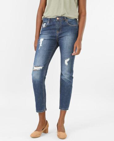 Jeans relax de talle alto destroy azul