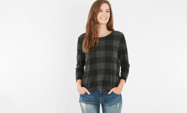 T-shirt a quadri vichy grigio