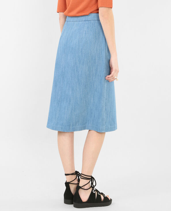Gonna midi denim blu cielo
