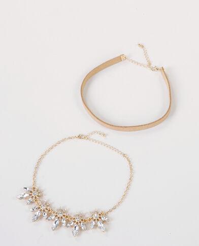Choker-Halsbänder aus Wildlederimitation und Schmuck Gold