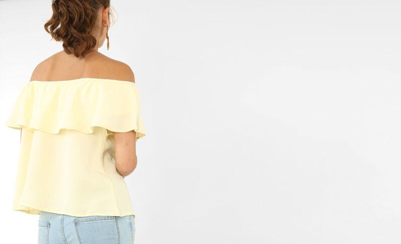 Rüschenbluse mit Bardot-Ausschnitt. Neongelb