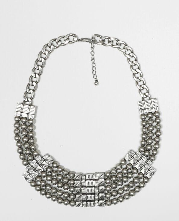 Collier plastron gris argenté