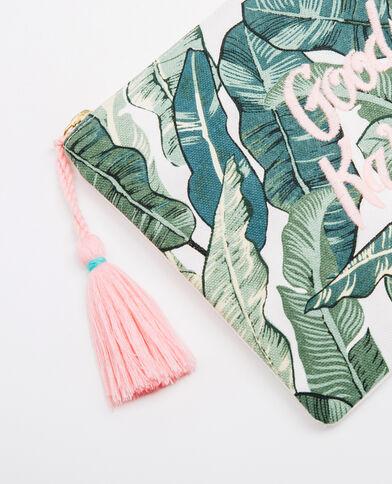 Cartera palmeras bordada verde
