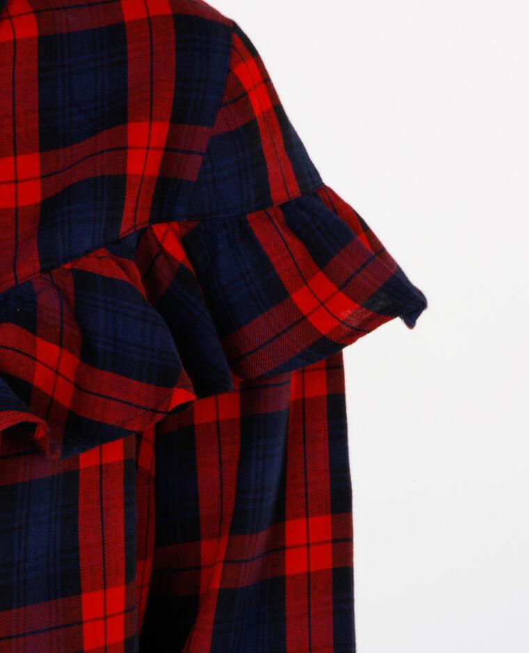 Chemise carreaux à volants rouge