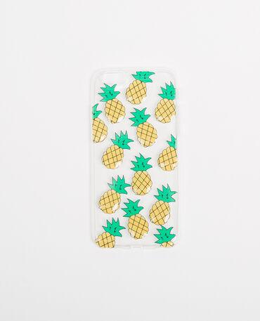 Coque compatible iPhone 6 ananas blanc
