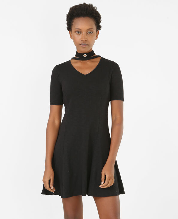 Robe trapèze col chocker noir