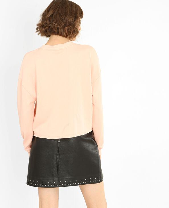 Kurzes Message-Sweatshirt rosa