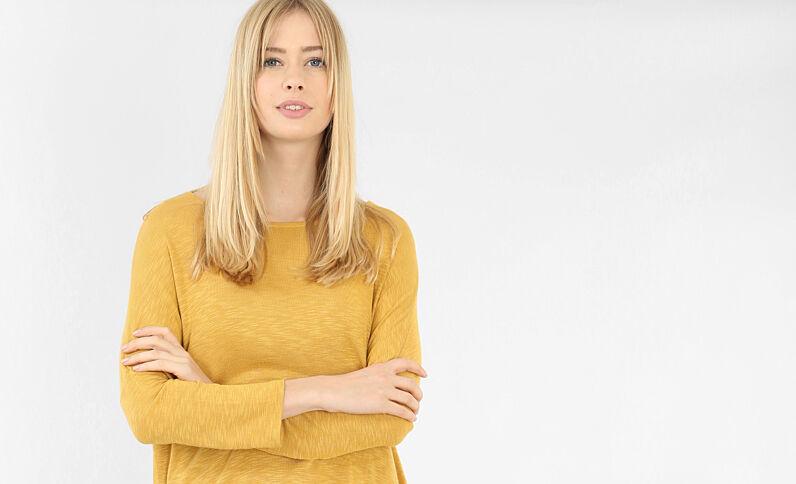 T-Shirt mit Fledermaus-Ärmeln Gelb