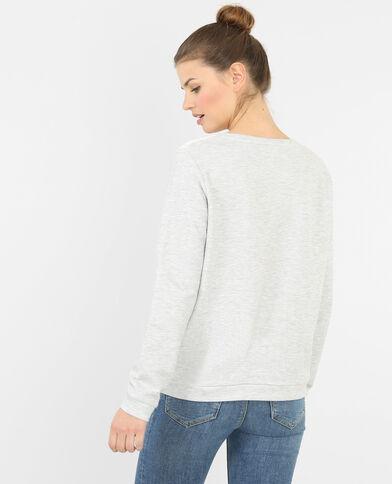 Sweatshirt aus Materialmix mit Spitze Naturweiß