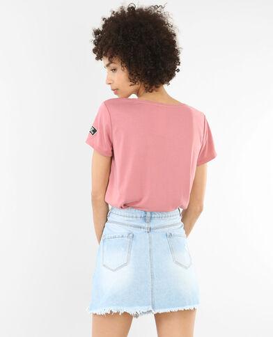 T-shirt col croisé vieux rose