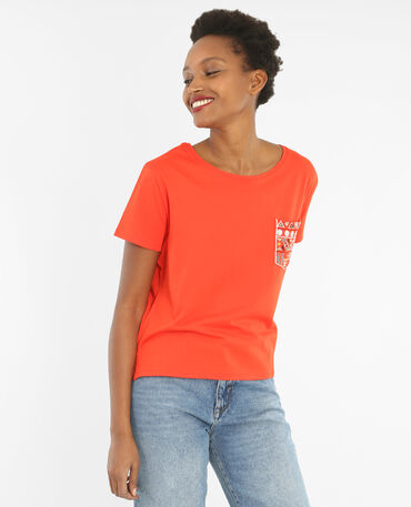 T-shirt tasca perle e specchi rosso