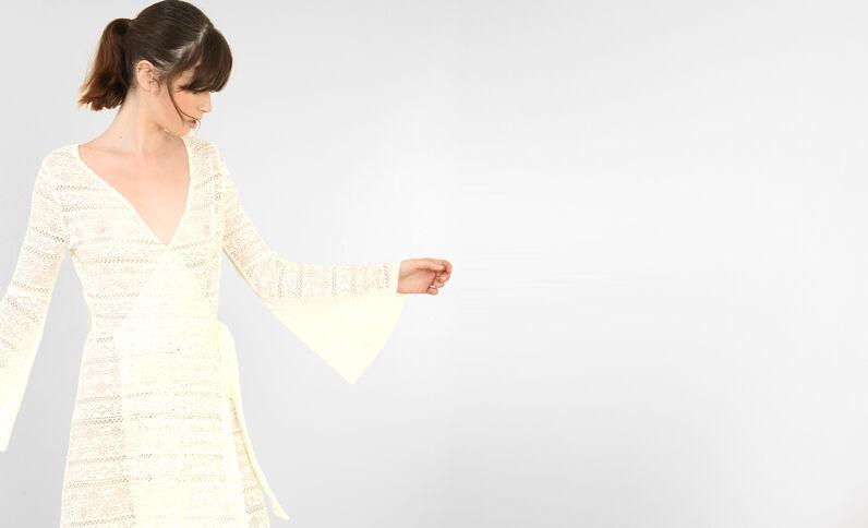 Lange jurk van kant gebroken wit